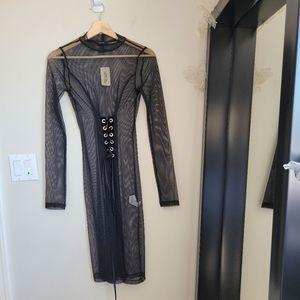 F21 black mesh dress